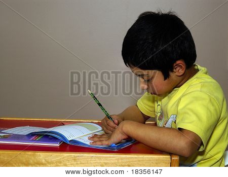 An handsome Indian kid diligently doing his homework