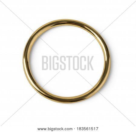 Lonely golden wedding ring isolated in the closeup with clipping path