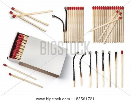 Set of burnt match at different stages isolated on white background.