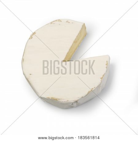 Piece of camembert cheese isolated on white background. From top view With clipping path