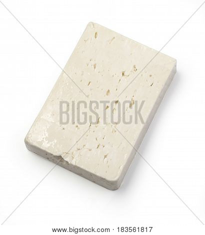 Greek feta cheese block isolated on white. with clipping path