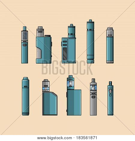Set of cartoon-style vaping device on skin-tone colored background. EPS10