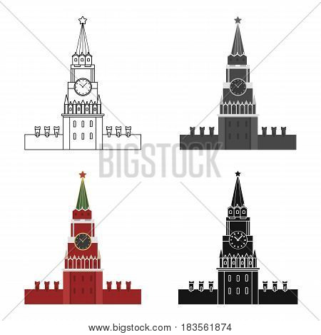 Kremlin icon in cartoon design isolated on white background. Russian country symbol stock vector illustration.