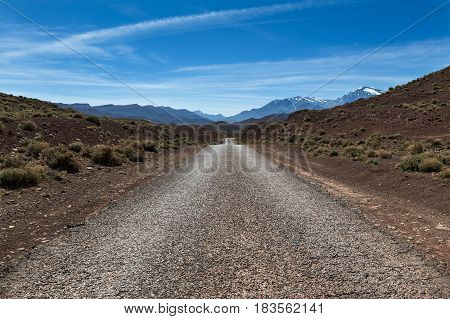 Empty road in the High Atlas Region of Morocco North Africa; Concept for travel in Morocco