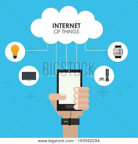 internet of things hand smartphone cloud computing device vector illustration