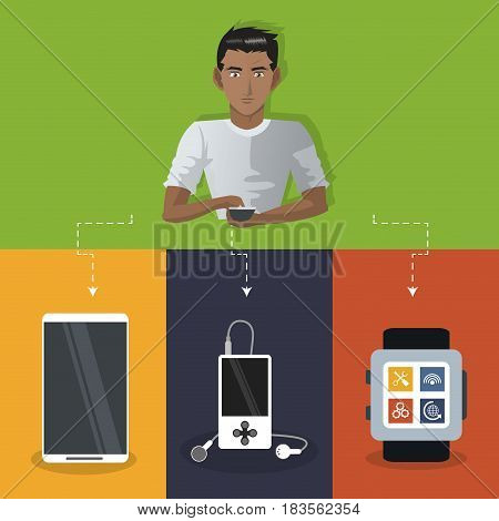 internet things man with smartphone smart watch mp3 mobile vector illustration