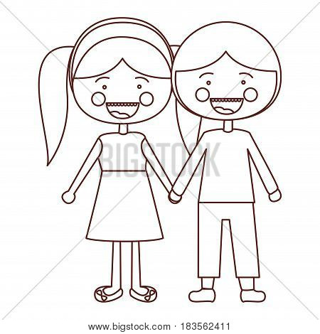 sketch contour smile expression cartoon guy and girl pigtails hairstyle with taken hands vector illustration