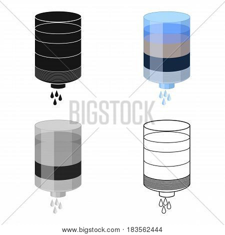 Water filter cartridge icon in cartoon design isolated on white background. Water filtration system symbol stock vector illustration.