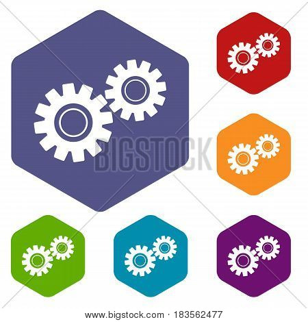 Two gears icons set hexagon isolated vector illustration