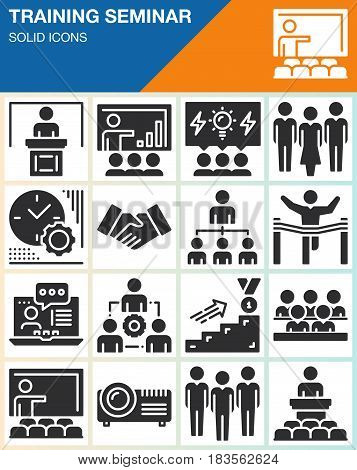Business training seminar presentation vector icons set modern solid symbol collection filled style pictogram pack isolated on white. Signs logo illustration web graphics. Presenter Teacher Audience Winner People Team