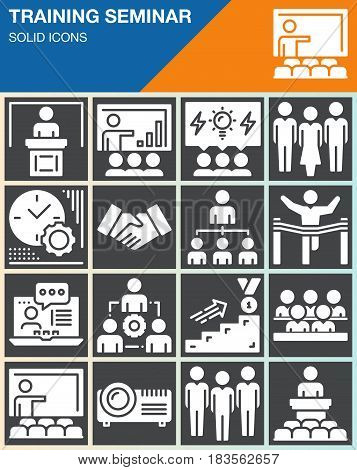 Business training seminar presentation vector icons set modern solid symbol collection filled white pictogram pack. Signs logo illustration web graphics