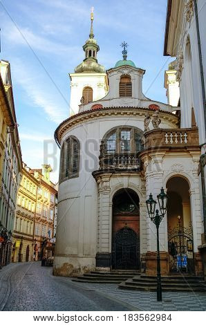 Praha, Czech Republic - May 10, 2012: View of St Salvator Church in Prague's Old Town at early morning without a people.