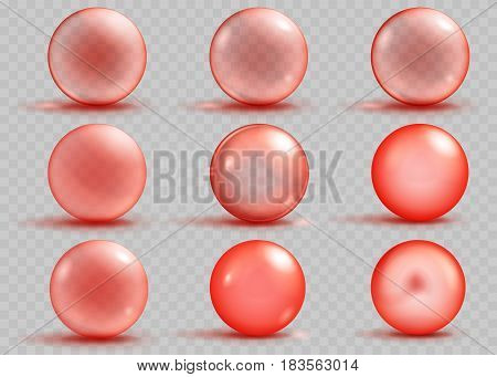 Set of transparent and opaque red spheres with shadows and glares on transparent background. Transparency only in vector file