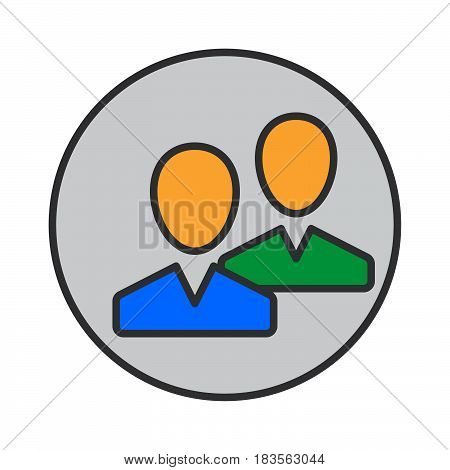 Community users friends filled outline icon round colorful vector sign circular pictogram. Symbol logo illustration