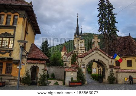 Brasov, Transylvania, Romania- April 29, 2015: Beautiful Traditional St. Nicholas Christian Church medieval and old architecture of Brasov Romania