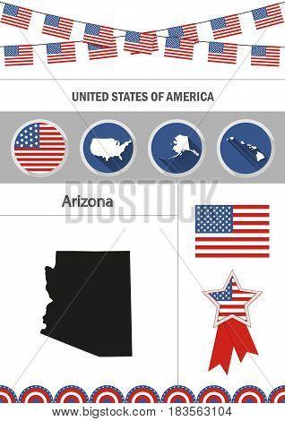 Map of Arizona. Set of flat design icons nfographics elements with American symbols.