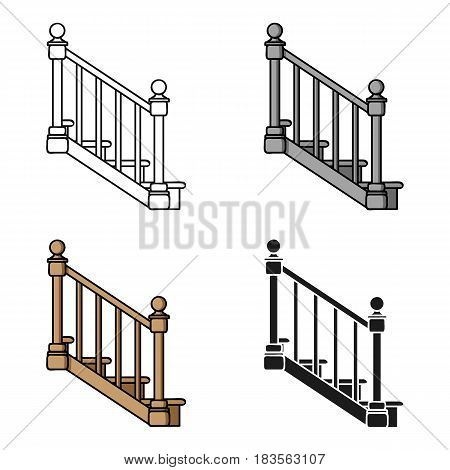 Stairs icon in cartoon style isolated on white background. Sawmill and timber symbol vector illustration.