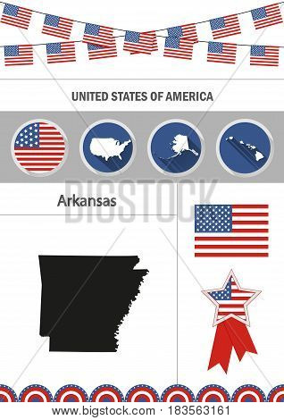 Map of Arkansas. Set of flat design icons nfographics elements with American symbols.