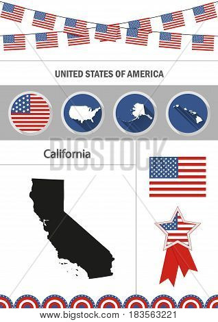 Map of California. Set of flat design icons nfographics elements with American symbols.