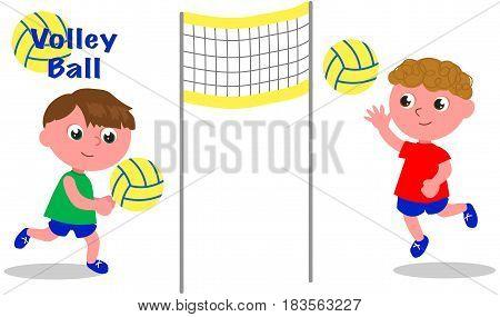 Cartoon children playing volley ball vector illustration.
