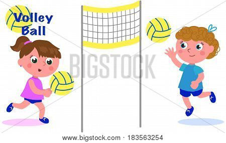 Cartoon girls, sportive volley players vector illustration