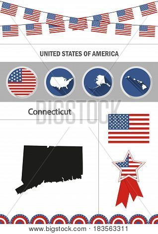 Map of Connecticut. Set of flat design icons nfographics elements with American symbols.
