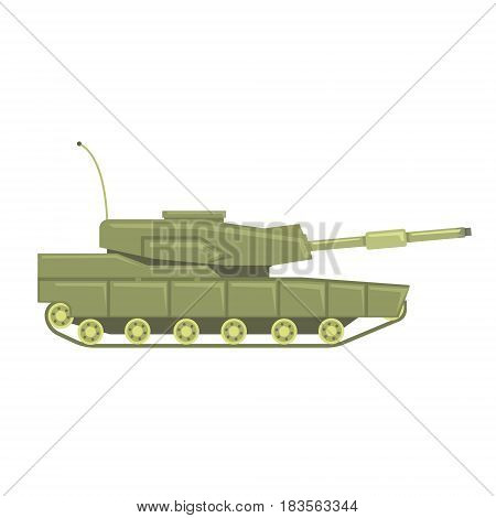 Military tank with cannon. Military combat vehicle vector Illustration isolated on a white background
