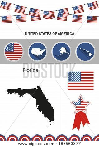 Map of Florida. Set of flat design icons nfographics elements with American symbols.