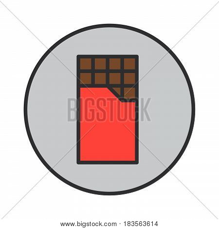 Chocolate bar filled outline icon round colorful vector sign circular pictogram. Symbol logo illustration