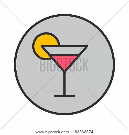 Cocktail glass filled outline icon round colorful vector sign circular pictogram. Symbol logo illustration