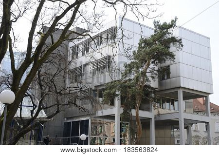 GRAZ, AUSTRIA - MARCH 20, 2017: Exterior building of the University of Graz the capital of federal state of Styria Austria.