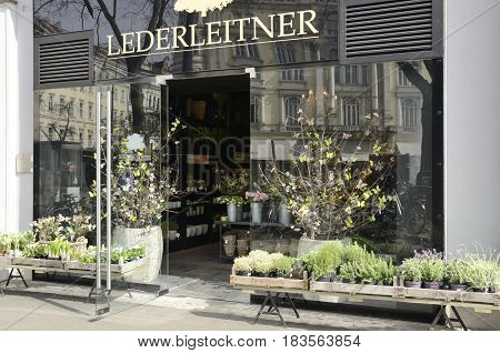 GRAZ, AUSTRIA - MARCH 20, 2017: Florist store in the historic center of Graz the capital of federal state of Styria Austria.