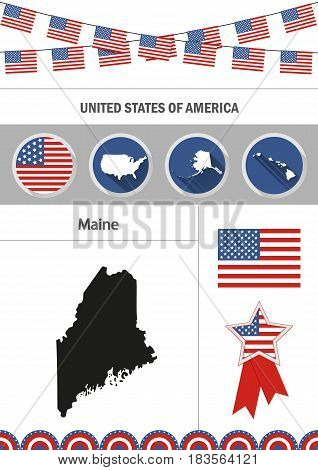 Map of Maine. Set of flat design icons nfographics elements with American symbols.
