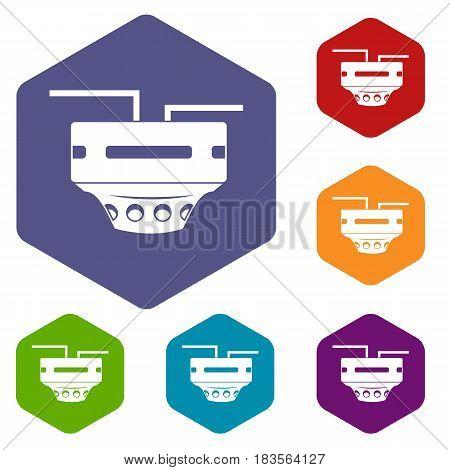 Monitor socket icons set hexagon isolated vector illustration