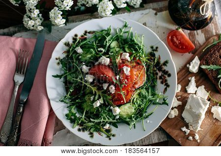 Plate Of Green Salad With Vegetables