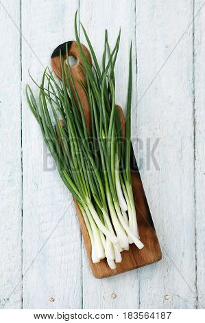 A bunch of fresh green organic onions on a boardA bunch of fresh green organic onions on a board