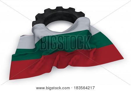 gear wheel and flag of bulgaria - 3d rendering