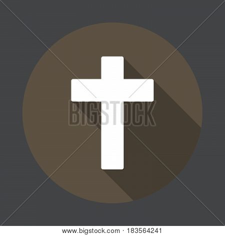Christian cross flat icon. Round colorful button circular vector sign with long shadow effect. Flat style design