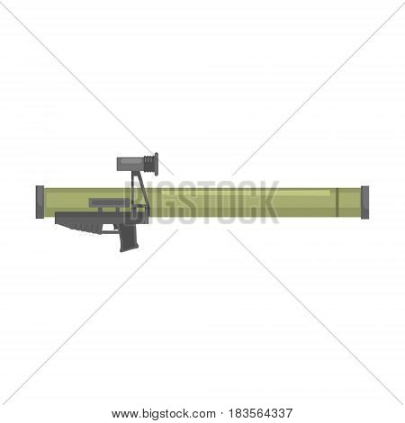 Anti tank rocket propelled grenade launcher, Bazooka. Military weapon vector Illustration isolated on a white background