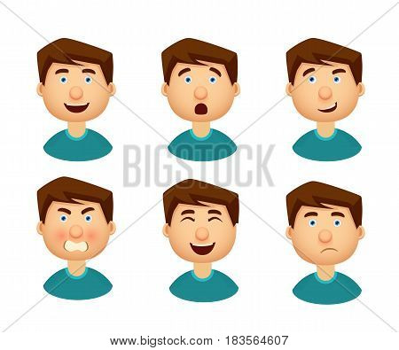 Collection of man with a variety of emotions. Vector illustration