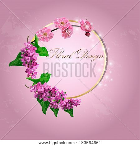 Very high quality original trendy vector illustration of Japanese plum blossom or red cherry flower and lilac flower in original floral template of invitation