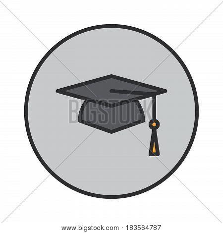 Square academic cap graduation hat filled outline icon round colorful vector sign circular flat pictogram. Symbol logo illustration