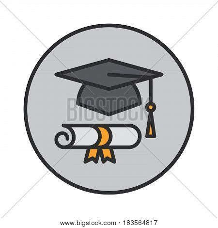Graduation hat and diploma filled outline icon round colorful vector sign circular flat pictogram. Symbol logo illustration
