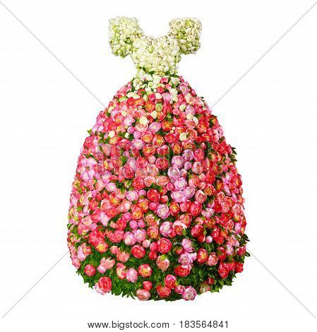 Dress from flowers roses, woman,  glamour,  beautiful
