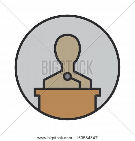 Speaker filled outline icon round colorful vector sign circular flat pictogram. Lecture symbol logo illustration