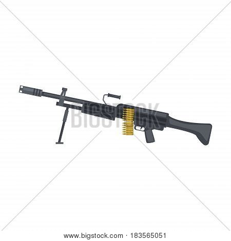 Automatic sniper machine gun. Military weapon vector Illustration isolated on a white background