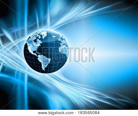 Best Internet Concept of global business. Globe, glowing lines on technological background. Wi-Fi, rays, symbols Internet, 3D illustration