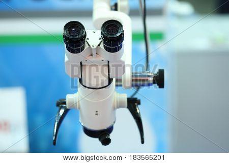 Professional microscope close up