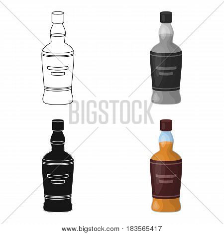 Bottle of scottish whiskey icon in cartoon design isolated on white background. Scotland country symbol stock vector illustration.