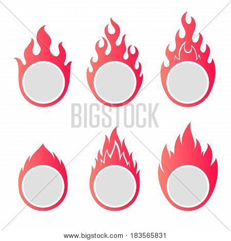 Fire flame round frames set with copy space.
